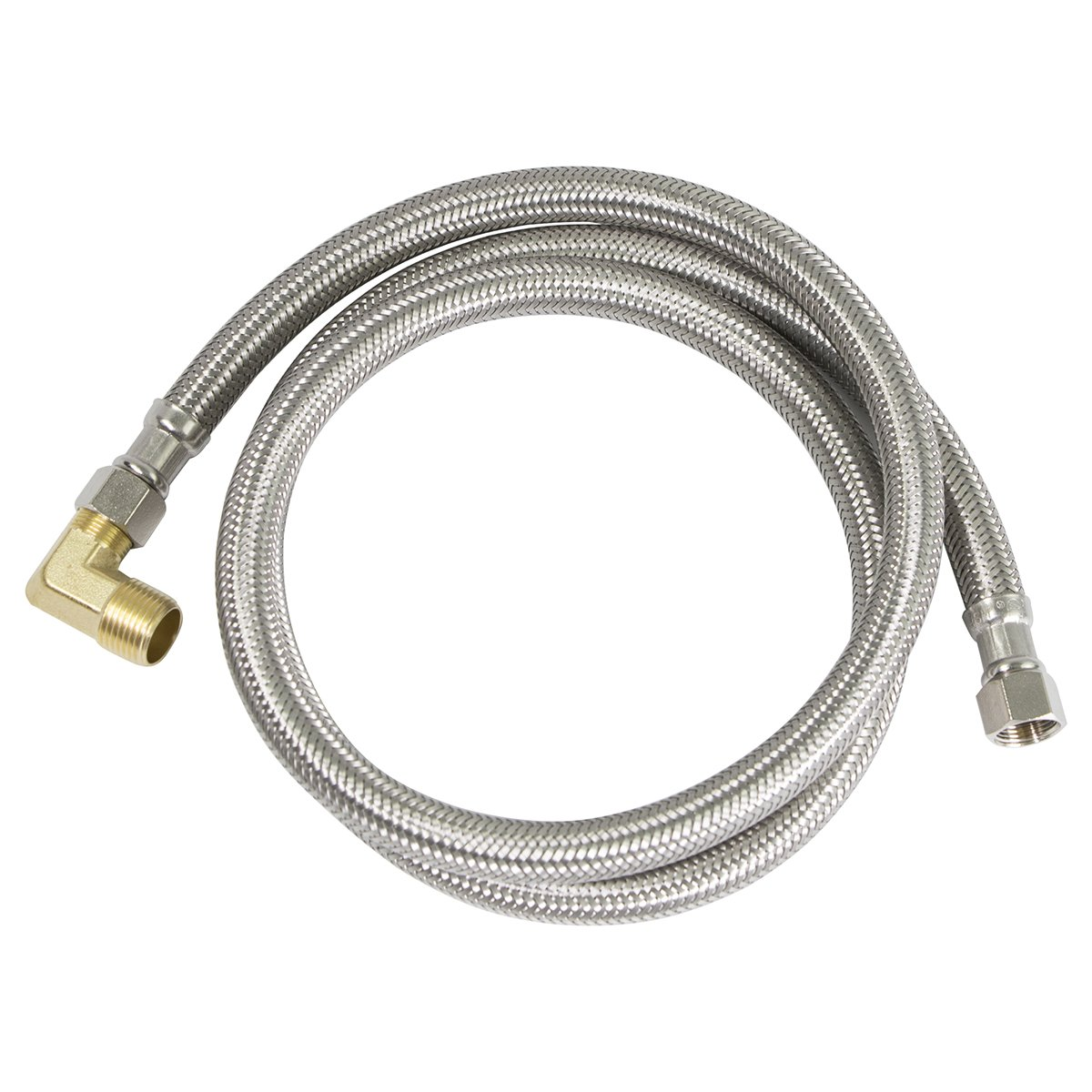 Everflow Supplies 27784PR-NL Premium Lead Free Braided Stainless Steel Premium Dishwasher Connector Hose with PVC Inner Tube, 3/8'' Compression Connections and Brass Elbow, 84''