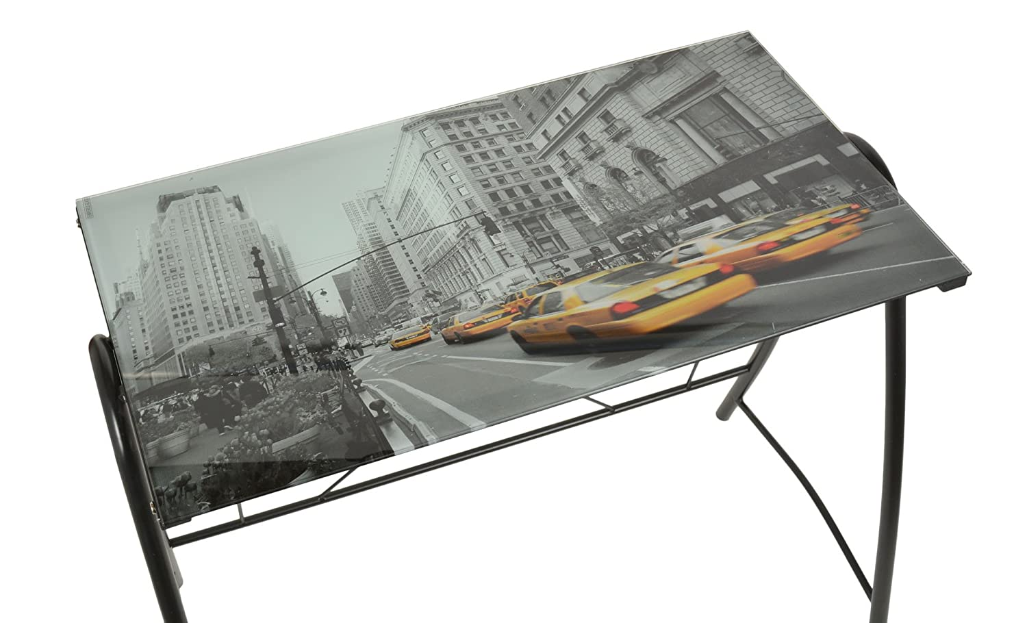 Bureau design new york taxi 6mm noir table en verre table de bureau