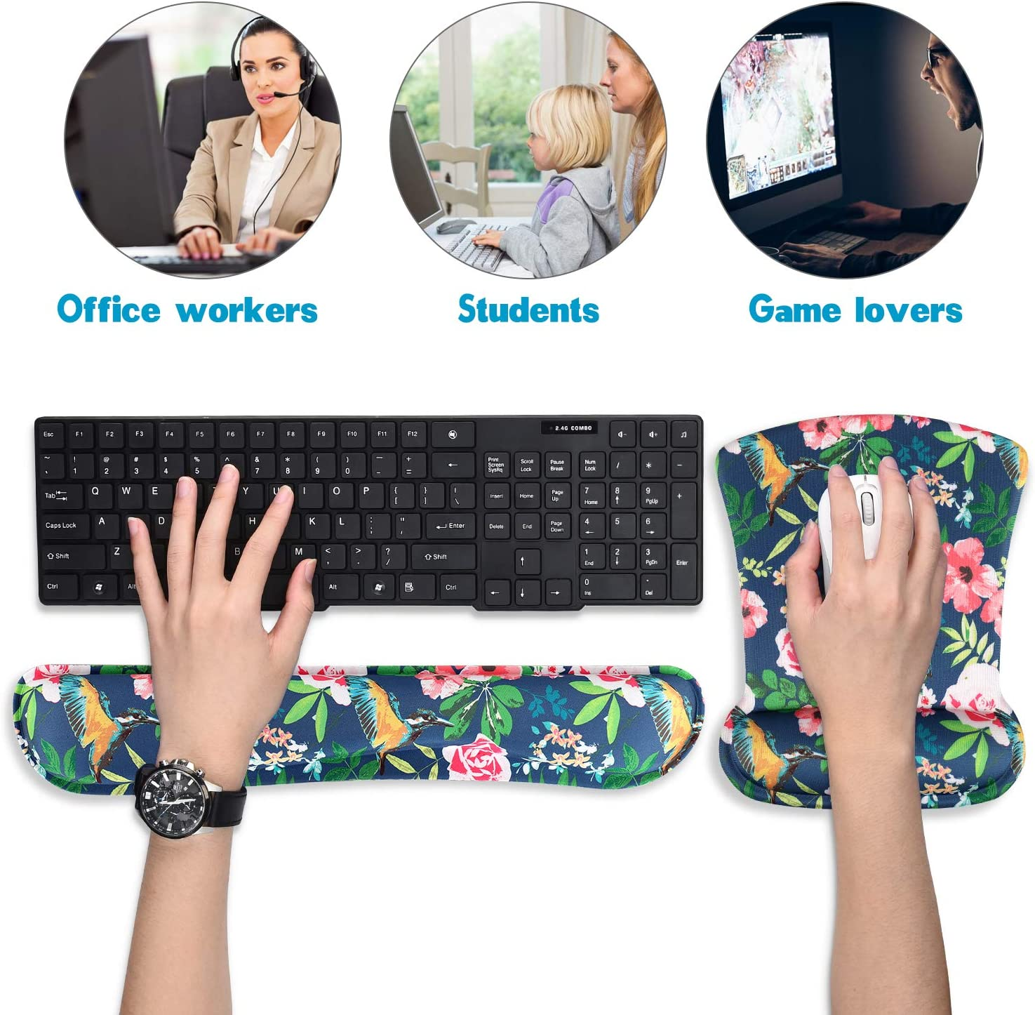 HILUCKI Keyboard Wrist Rest Pad Support Ergonomic Mouse Pad Wrist Support Set Memory Foam Cushion for Computer Laptop Gaming Office Comfortable Durable and Pain Relief MC-007