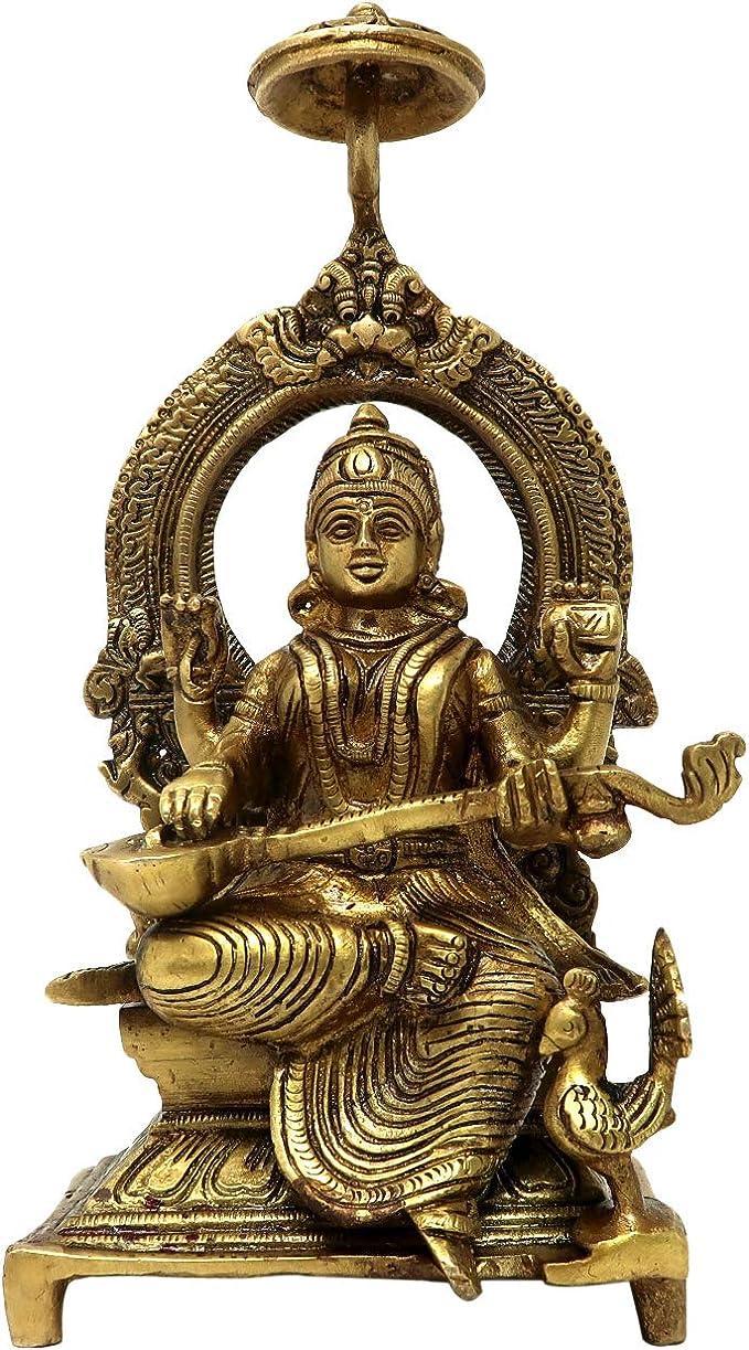 Brass Idols for Home Decor Ma Saraswati Sitting On Throne ...