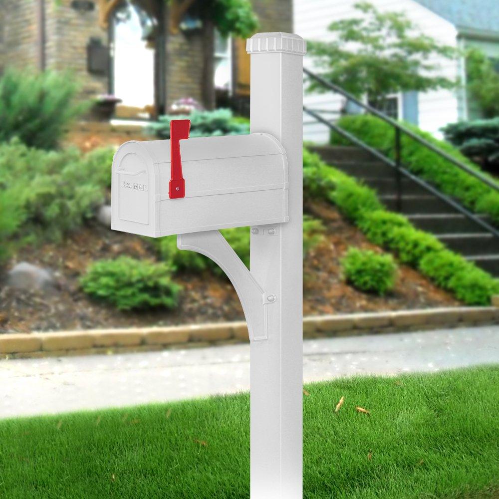 Salsbury Industries 4835WHT Designer In-Ground Mounted Decorative Mailbox Post, White by Salsbury Industries