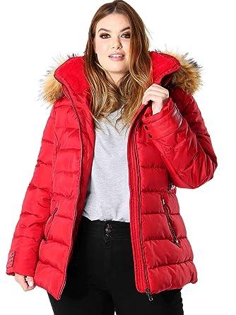 Lovedrobe Women S Plus Size Faux Fur Hood Red Padded Coat Amazon Co