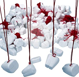 Kicko Plastic Tooth Saver Necklace - 144 Pack Tooth-Shaped Containers with Red String for School Events, Dentist Prizes, Dental Offices, Teacher Supplies, Party Favors