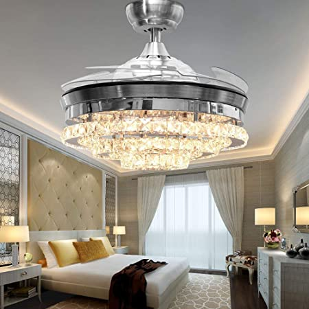 RS Lighting Crystal Low Profile Ceiling Fan -42 Inch with LED Lights and  Remote Control Invisible Ceiling Fan Chandelier -for Indoor Living Dining  ...