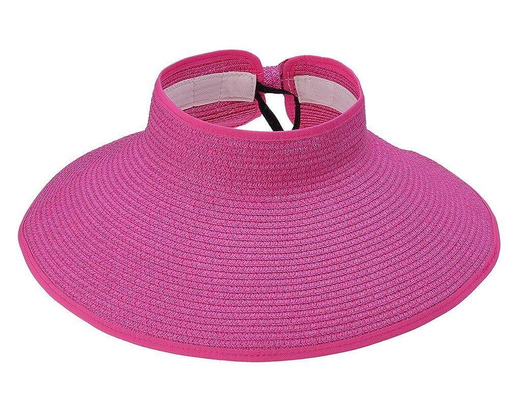 COMVIP Donna Adulti Wide Brim spiaggia del cappello di Sun di Bowknot paglia Visiera Cap