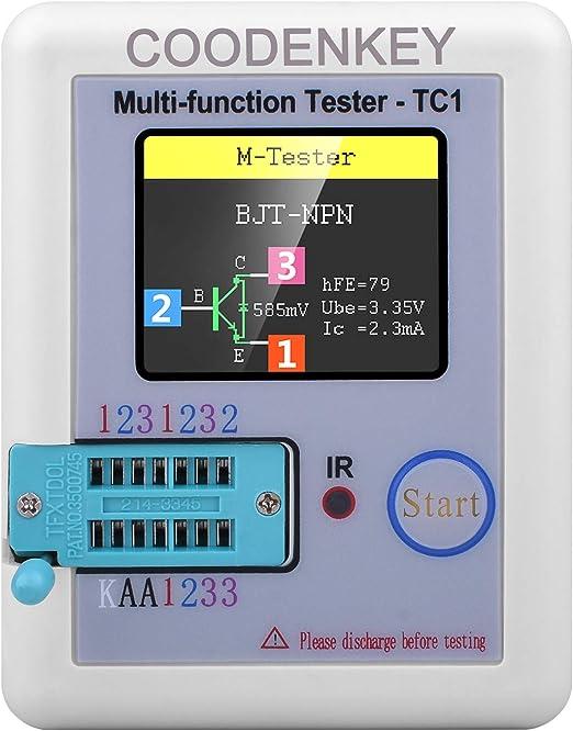 Multi-function Tester COODENKEY 1.8 inch Colorful Display Pocketable Multifunctional TFT Backlight Transistor LCR-TC1 Tester for Diode Triode Capacitor Resistor Transistor LCR ESR NPN PNP MOSFET LW21