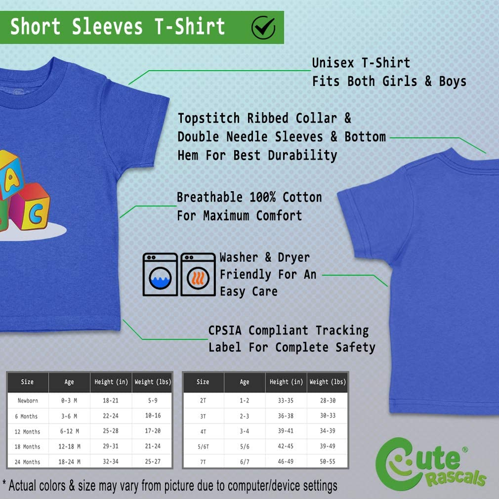 Custom Baby /& Toddler T-Shirt Cubes with Letters ABC Cotton Boy Girl Clothes