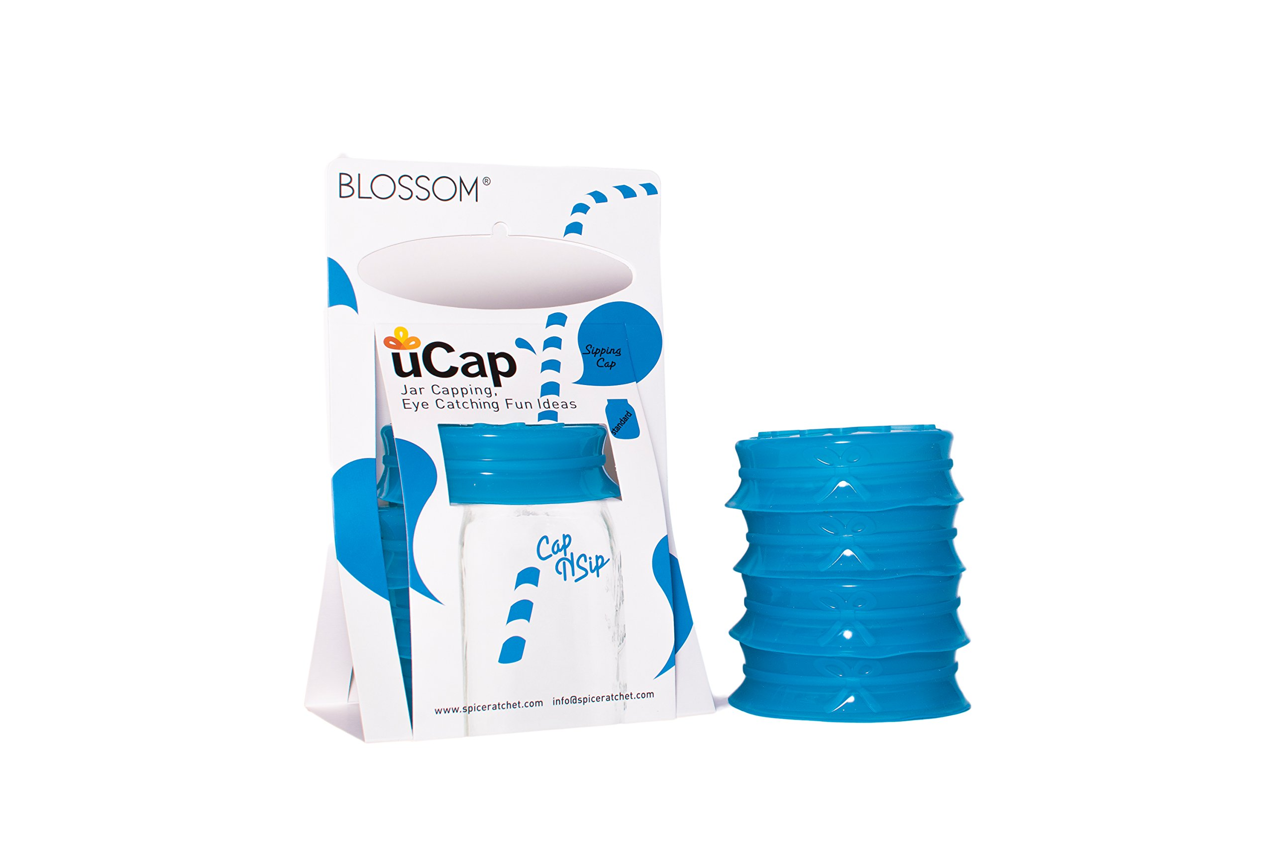 Blossom Mason and Canning Jar Sipping and Drinking Lid Caps, Silicone, For Wide Mouth Size Mason Jars, 4-Inches; Blue; Set of 4 by Spice Ratchet (Image #6)