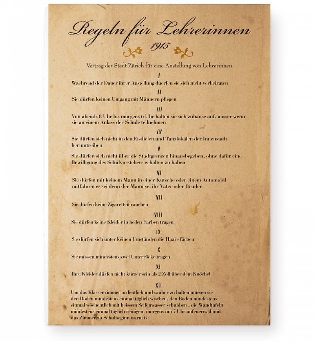 Regeln für Lehrerinnen 1915 - Witziges Poster für Lehrer und ...