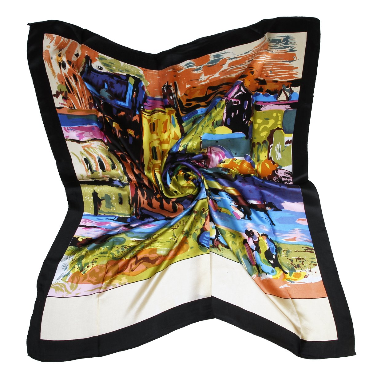 ETSYG 32'' Silk Scarf Women's Oil Painting House Pattern Large Square Satin Headscarf Headdress