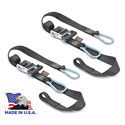 "Powertye 1½"" x 6½ft Heavy-Duty Ratchet Tie-Downs, Made in USA with Soft-Tye and Carabiner Hooks, Black/Black (Pair): Automotive [5Bkhe1004742]"