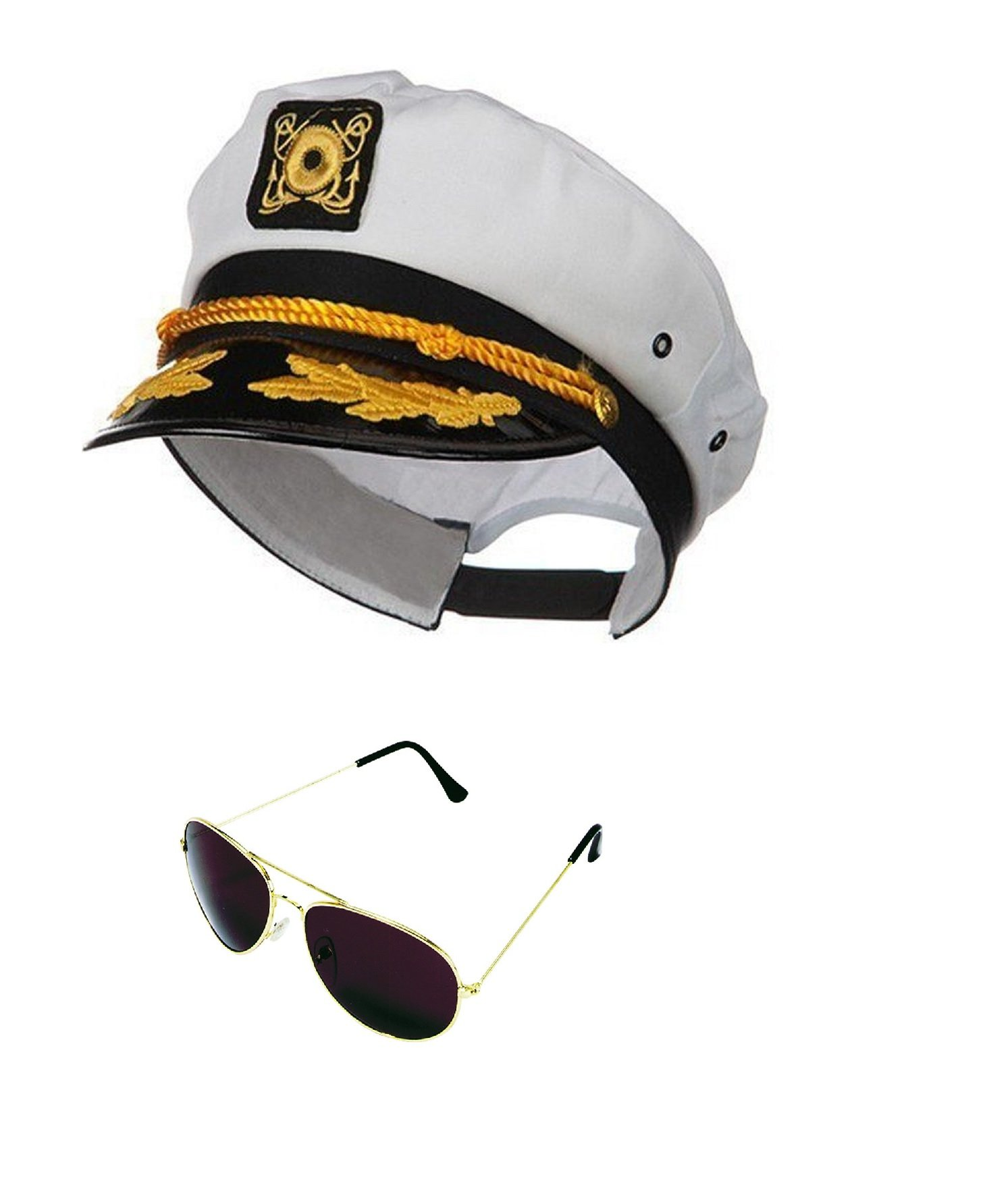 Yacht Boat Captain Hat Sailor Ship Cap White Gold and Gold Aviator Sunglasses
