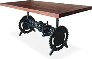 Steampunk Adjustable Dining Table - Iron Crank Base Reclaimed Wood Top