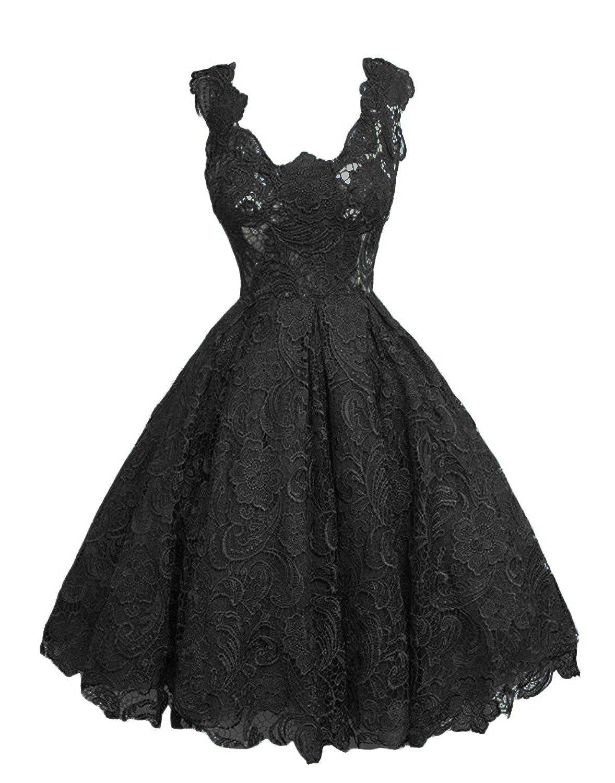 Black Caissen Women's Knee Length Lace Appliques Satin Ball Gown Square Neck Zipper Cocktail Dress Party Wear Dance Gown