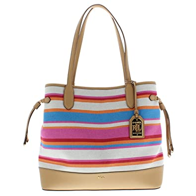 Image Unavailable. Image not available for. Color  Lauren Ralph Lauren  Womens Piedmont Adalyn Striped Tote Handbag Multi Large aa496f2aad8e6