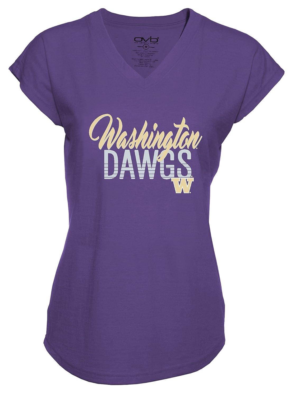 NCAA Washington HuskiesレディースプラスVネックTri Blend Tシャツ、2 x、パープル