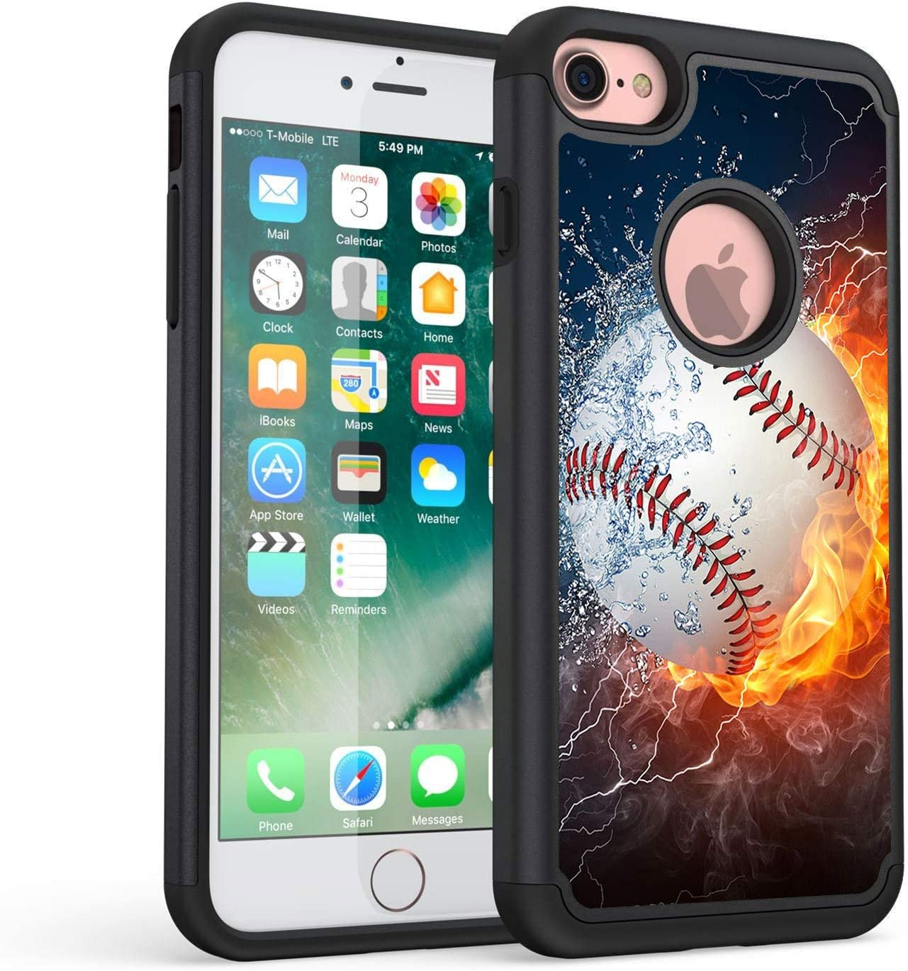 iPhone 8 Case,iPhone 7 Case,Rossy Heavy Duty Hybrid TPU Plastic Dual Layer Armor Defender Protection Case Cover for Apple iPhone 7/iPhone 8 (4.7 inch),Baseball Sports