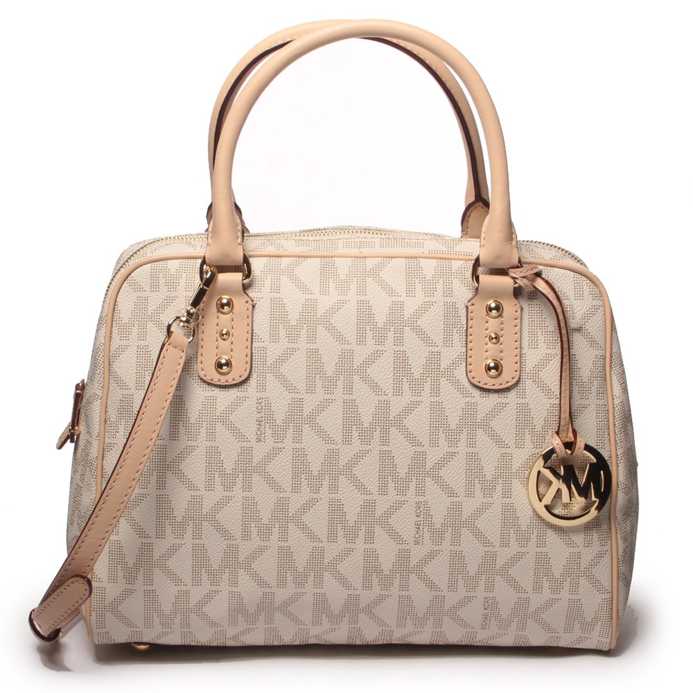 Michael Kors Signature PVC Satchel Hand Bag (Large, Vanilla): Handbags:  Amazon.com