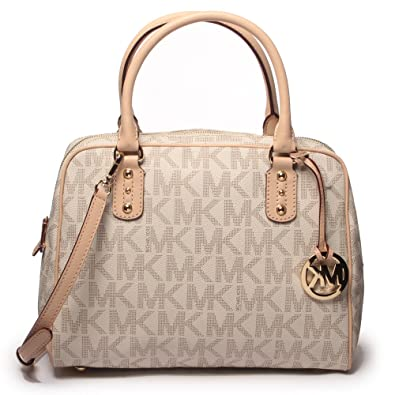 Michael Kors Signature PVC Satchel Hand Bag (Large, Vanilla ...