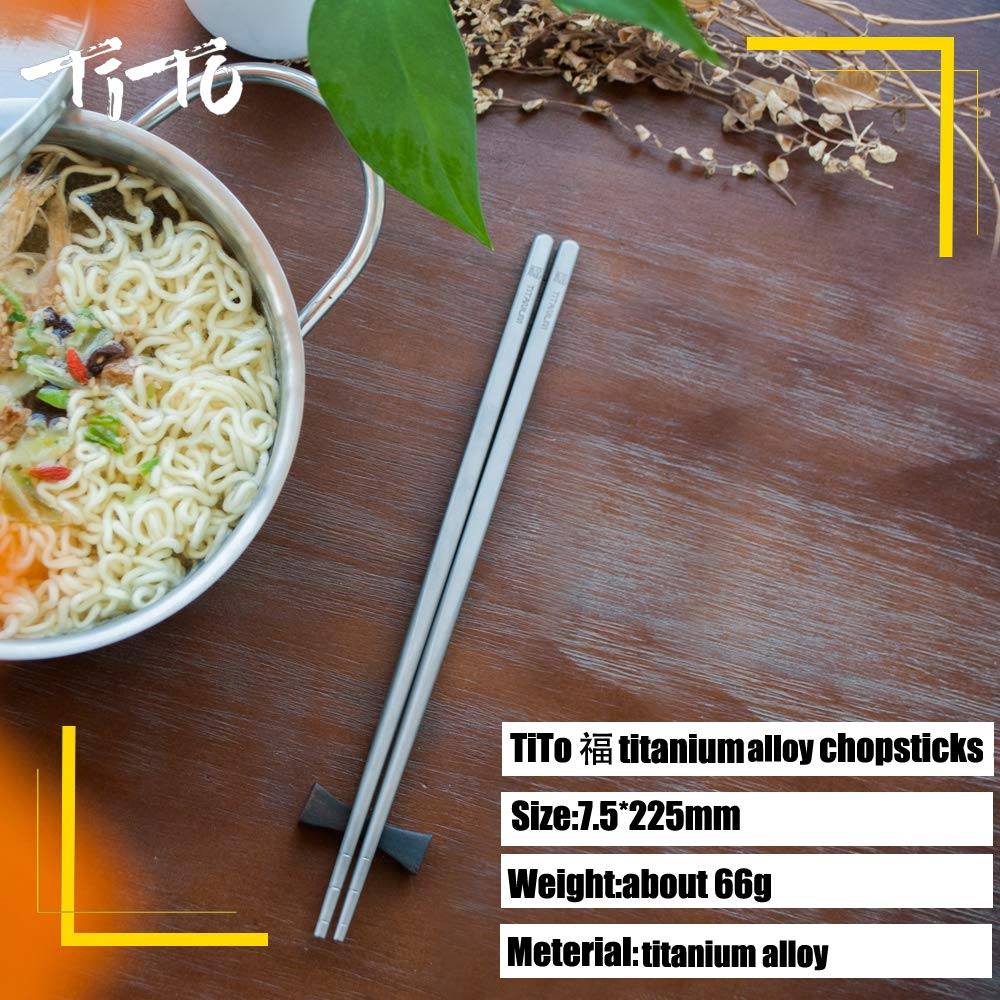 TiTo Titanium Fu Chopsticks Outdoor Tableware for Camping Picnic Hiking Traveling Chopsticks Dinner Table Chopstick Ouyuan New-metal