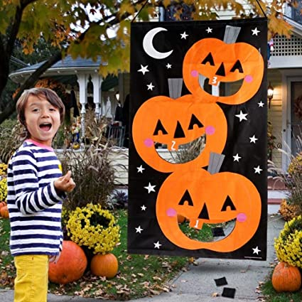 Games Pack and Decoration for Kids JOYIN Halloween-Themed Pumpkin Toss Game with 4 Candy Corn Design Bean Bags Party Favor Supplies