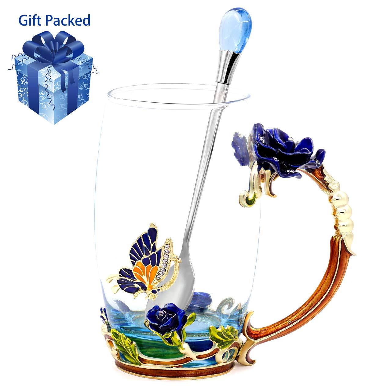 Daycindy Handmade Enamel Rose Teacup Black Tea Cup with Spoon Set (13oz, Rose Blue)