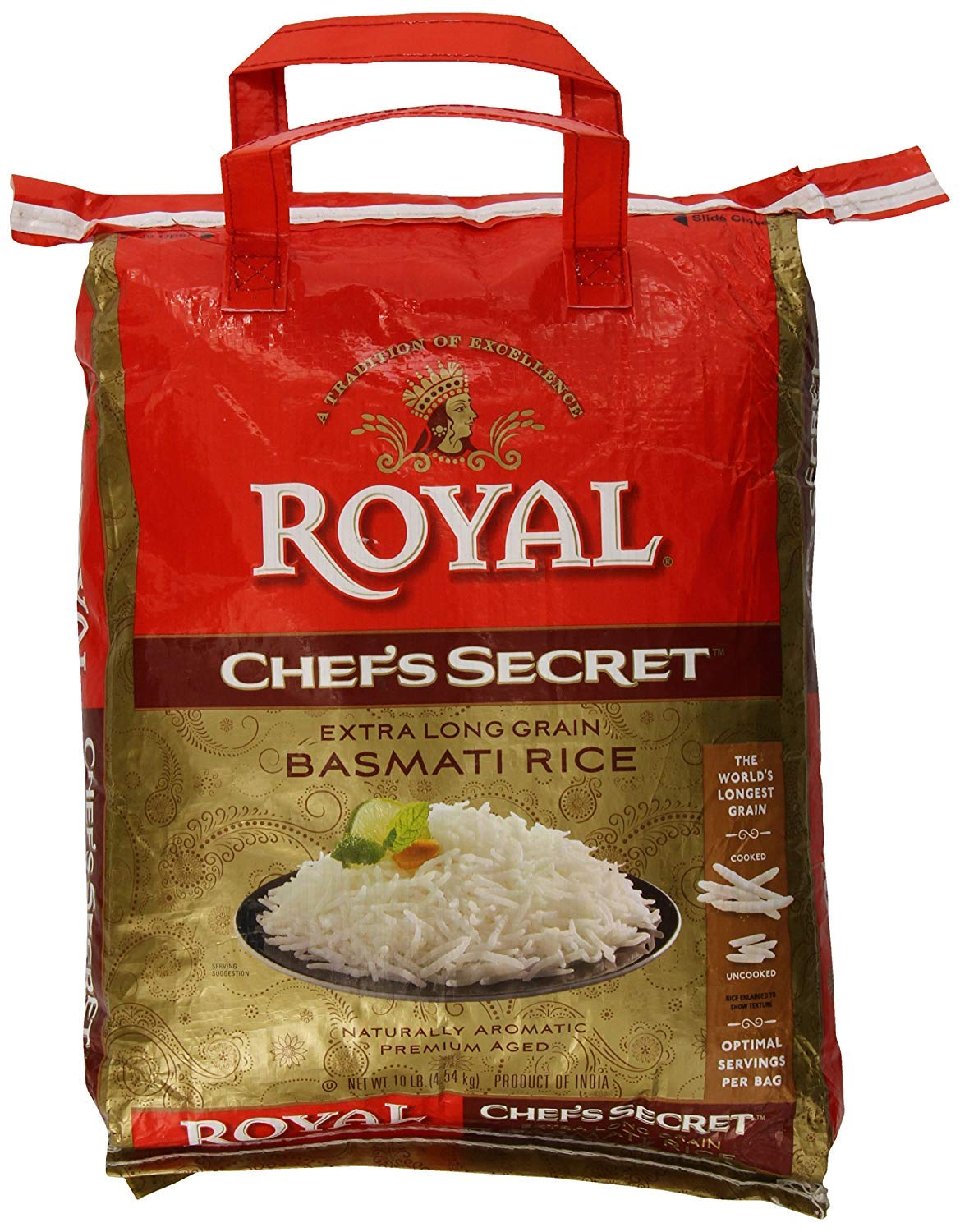 Royal Chef's Secret Extra Long Grain Basmati Rice, 10 Pound - PACK OF 2