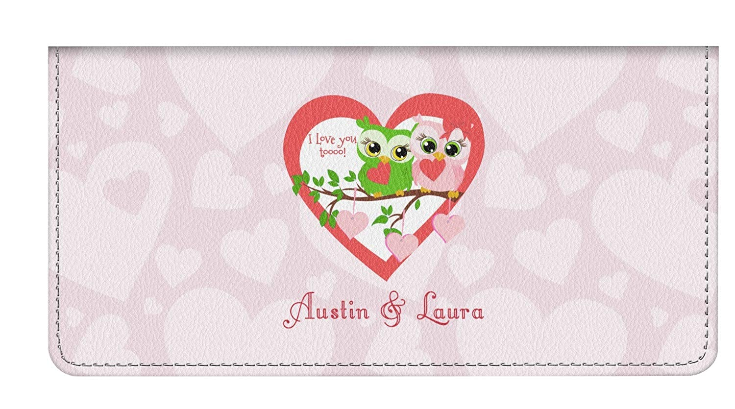 Personalized Valentine Owls Genuine Leather Checkbook Cover