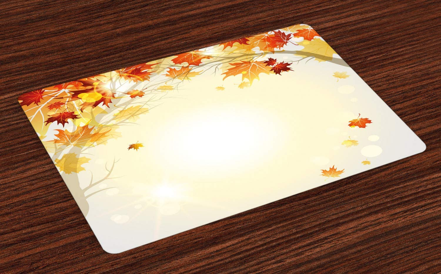 Ambesonne Fall Place Mats Set of 4, Soft Image of Faded Shedding Fall Leaves from Tree Motion in Nature Concept Print, Washable Fabric Placemats for Dining Room Kitchen Table Decor, Orange Yellow