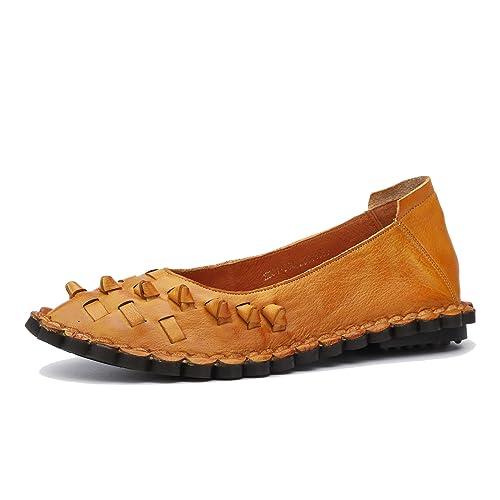 Zapatos Planos cómodos de Suela Suave para Mujer Mocasines Casuales de Cuero Genuino Vintage Zapatos de