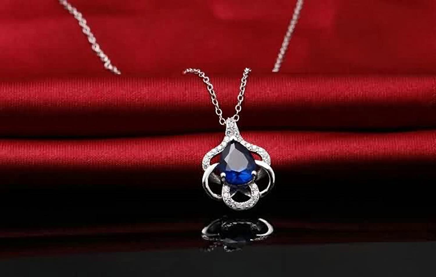 Aokarry Womens 925 Silver Sterling Pendant Necklace Crystal Flower Pendant for Mom