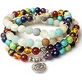 Jewelry,8MM Amazonite Healing 108 Buddhist Prayer Mala Beads OM Pendant 7 Chakra Yoga Bracelet Necklace