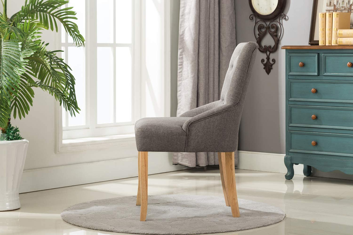 MCC Linen Fabric Accent Chair Dining Chair For Home & Commercial Restaurants [ Grey * Beige * Red * Brown ] (Brown) Grey