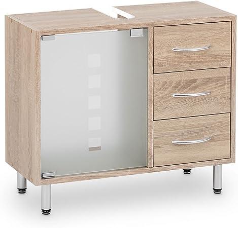 Galdem – Mueble bajo lavabo, con 3 cajones, puerta de cristal, madera – armario para cuarto de baño: Amazon.es: Hogar