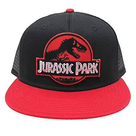 32e451ca3ed Jurassic Park Red Movie Patch Flat Bill Trucker Mesh Back Cap Red Black Hat  (Red