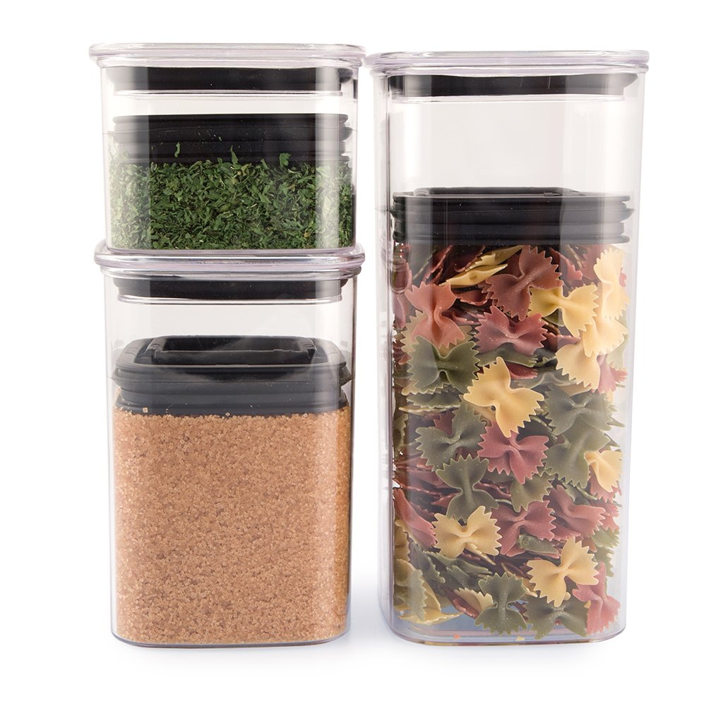 Airscape Lite Plastic Airtight Food Storage Canister Set - Patented Airtight Lid Preserves Food Freshness, Clear Containers (3 Pack - 32, 64 and 96 oz)