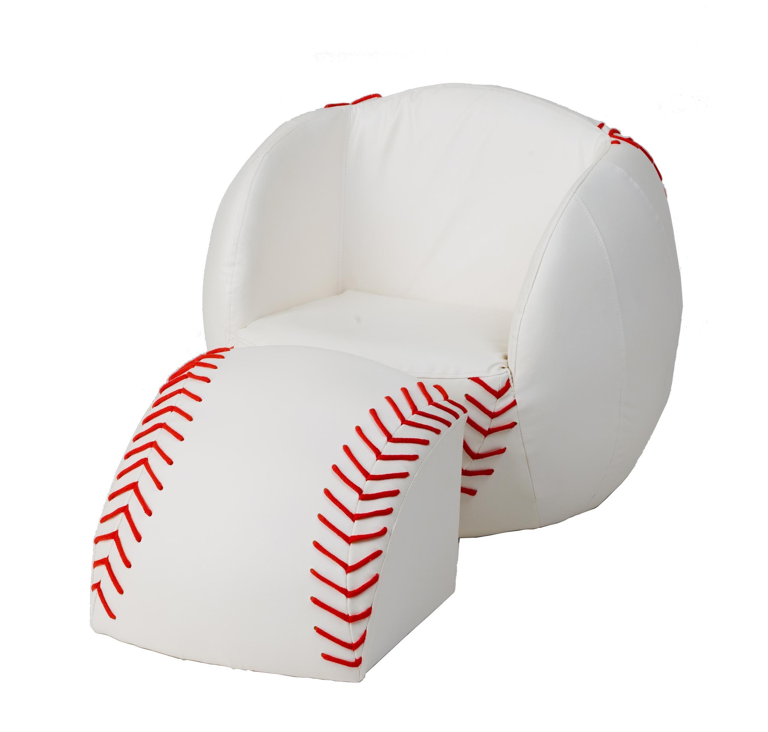 Gift Mark Chair and Ottoman, Baseball