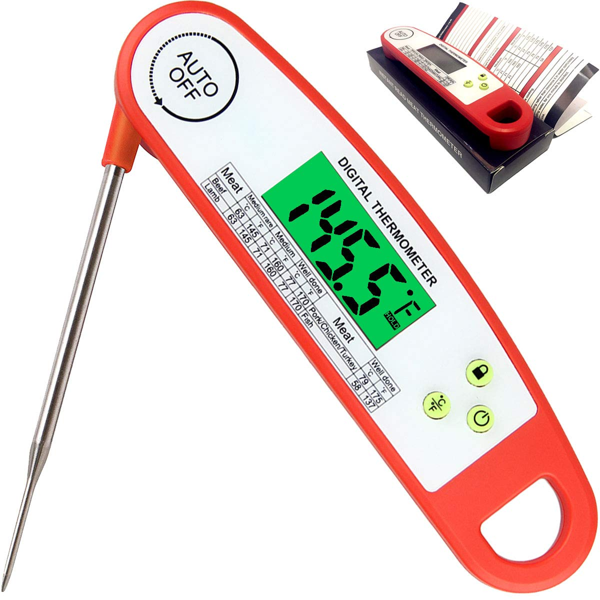 Meat Thermometer, Smart Auto On Off Long Foldable Probe Instant Read Thermometer Waterproof Digital Electronic Food Thermometers for Kitchen Cooking, Candy, Milk, Water, Grill Smoker