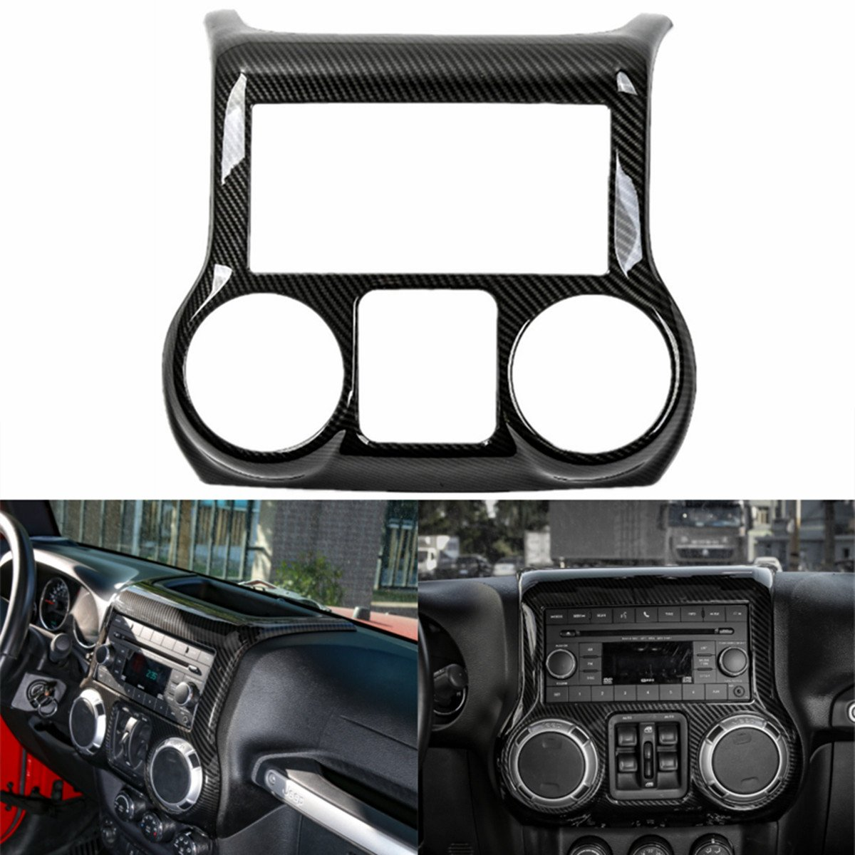 YOCTM Black Carbon Fiber Car Interior Center Control Panel Cover Trim ABS Frame Decoration Car Styling Fit for Jeep Wrangler 2011-2017 (Black)