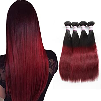 Racily Hair Ombre Brazilian Hair Straight 4 Bundles 1b Burgundy Brazilian Virgin Hair Straight