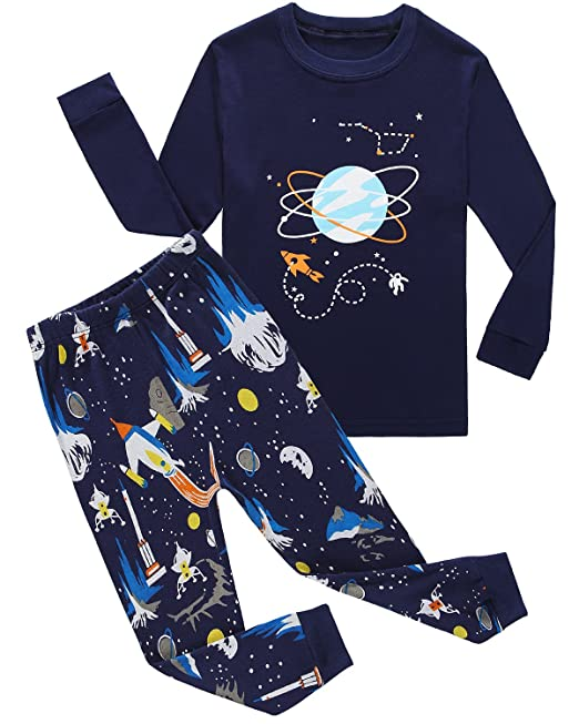 6556977af611 Family Feeling Space Baby Boys Long Sleeve Pajamas Sets 100% Cotton ...