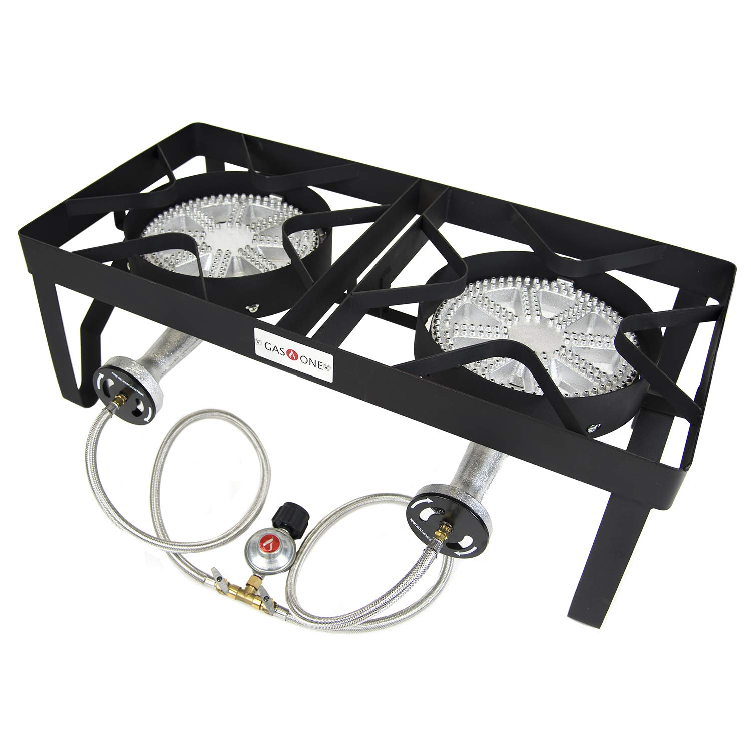 GasOne 380,000 BTU Propane Burner Heavy Duty Double Burner Outdoor Stove Propane Gas Cooker with Adjustable Regulator & Steel Braided Great for Home Brewing, Turkey Fry, Maple Syrup - Patent Pending
