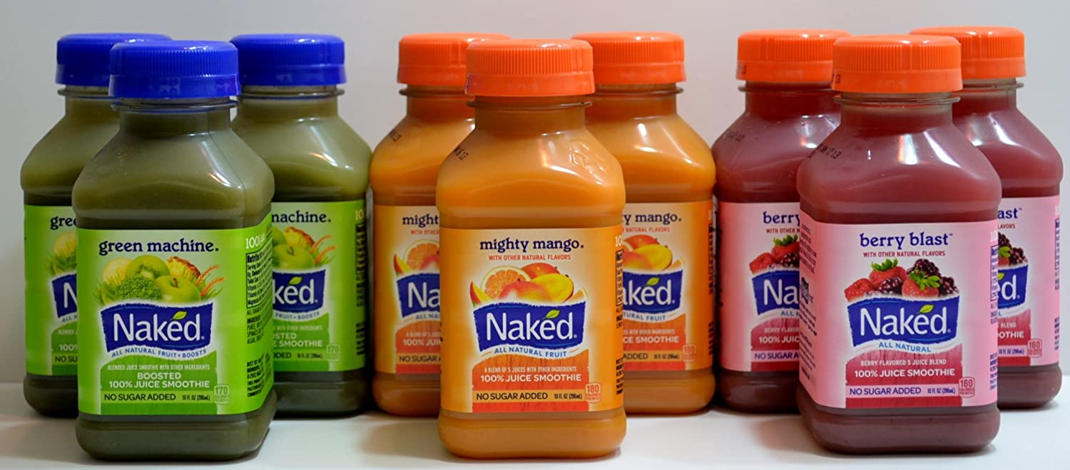 Naked Variety Pack Juice Smoothie 3 Mighty Mango, 3 Green Machine, 3 Berry Blast Total 9 Bottles (10 FL OZ per Bottle)
