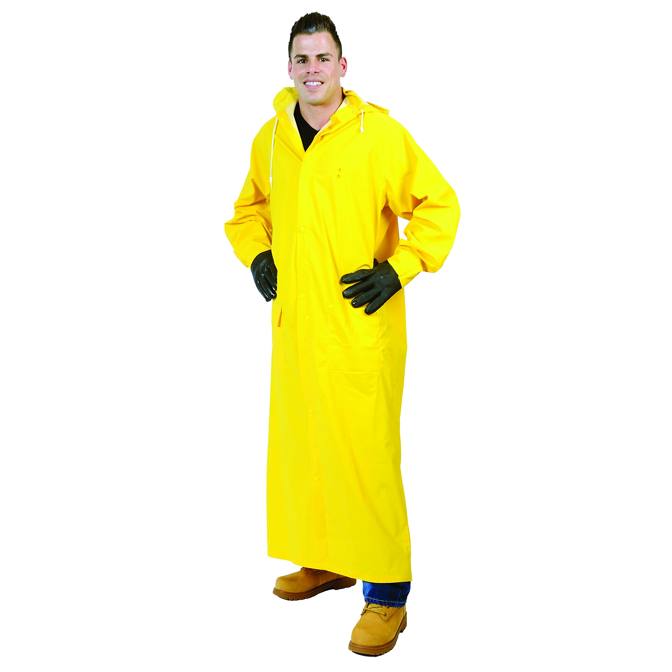 Galeton 12560-L-YW  Repel Rainwear 0.35 mm PVC 60'' Raincoat for More Coverage, Large, Yellow by Galeton