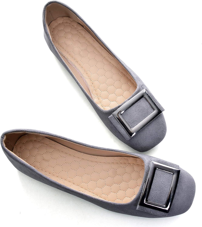 ChaiRong Zhou Women's Square Toe Metal Buckle Soft Comfortable Ballerina Flats Casual Big Size Walking Shoes