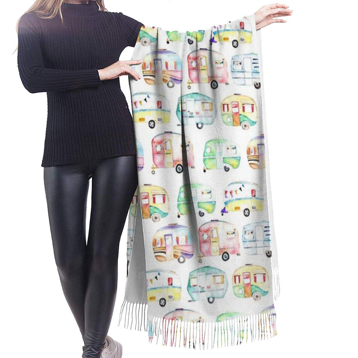Retro Caravans Shawl Wrap Scarf Oversized Long Blanket Scarf Cozy Warm for Winter Fall 72x72 inches