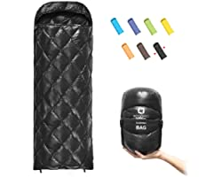 ECOOPRO Down Sleeping Bag, 41 Degree F 600 Fill Power Cold Weather Sleeping Bag - Ultralight Compact Portable Waterproof Camp