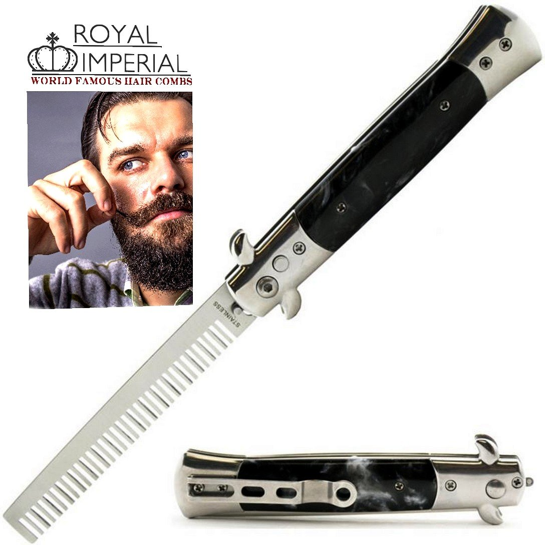 Royal Imperial Metal Switchblade Pocket Folding Flick Hair Comb For Beard, Mustache, Head Black Pearl Handle ~ INCLUDES Beard Fact Wallet Book ~ Nicer Than Butterfly Knife Trainer by Royal Imperial