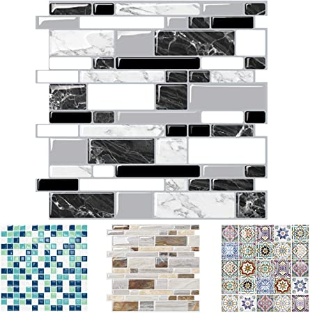 Peel And Stick 3d Tile Stickers Peel And Stick Vinyl Wallpaper Self Adhesive Wall Tile With Mosaic Effect For Kitchen Bathroom Backsplash 12 X 12 5 Sheets Black White Marble Waterproof Thicker Amazon Co Uk Kitchen Home