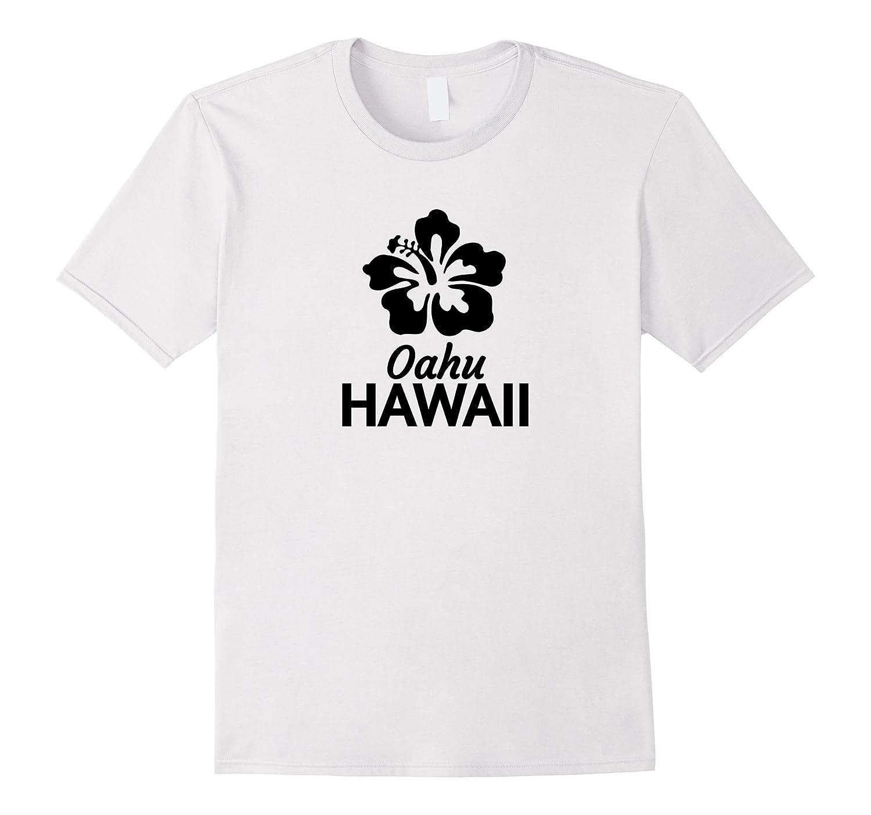 Oahu Hawaii T Shirt with Hawaiian Hibiscus Flower-TD